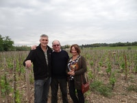 Frederic, Bob & Marion with the new vines Domaine de Beaurenard, Chateauneuf-du-Pape